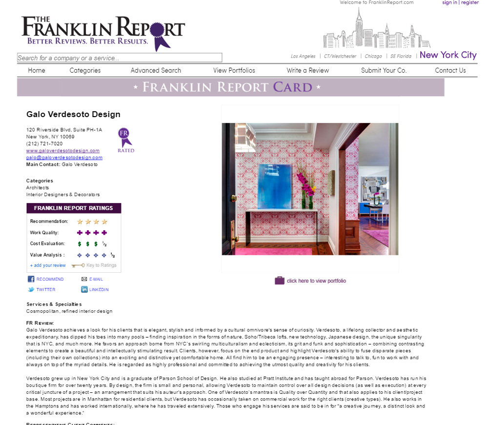 The Franklin Report Website printscreen